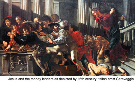 Jesus and the Money Lenders - Caravaggio